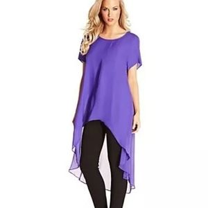 NEW Marciano High-Low Flowy Blouse - Purple, M